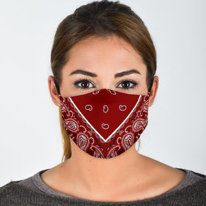 Adjustable Maroon Bandana Face Mask with 5 Layer Filters