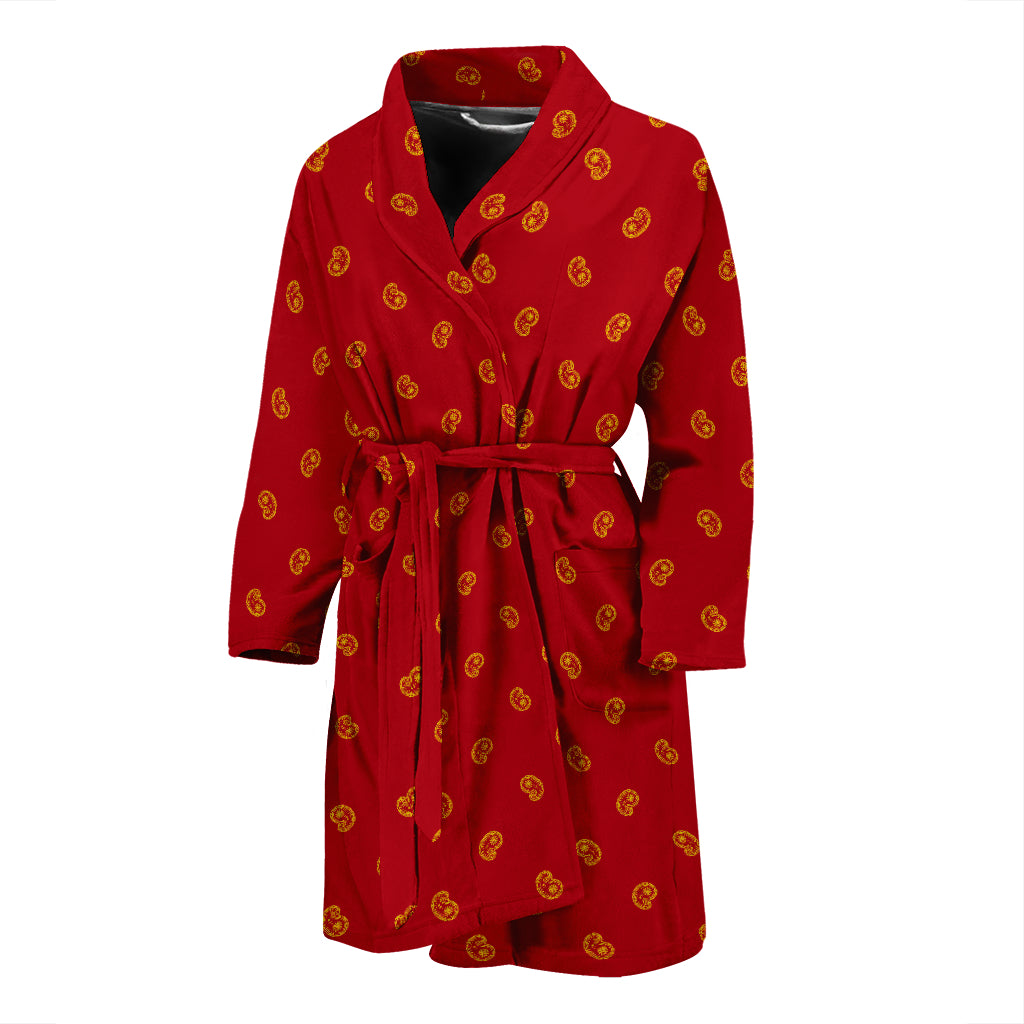 red and yellow men's bathrobe