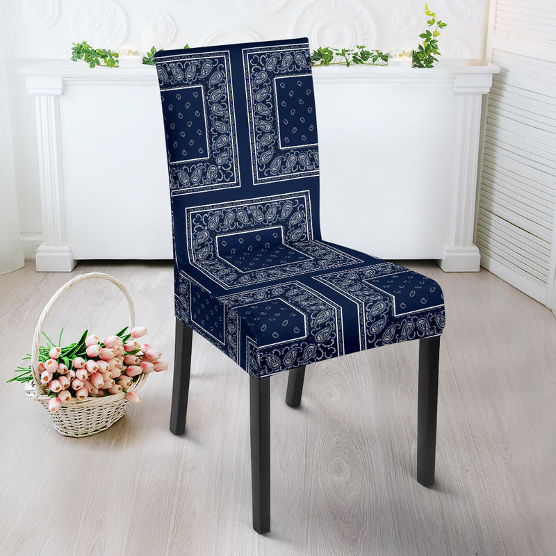Navy Blue Bandana Chair Slipcovers