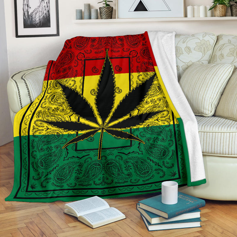 Rasta 420 Bandana Throw Blanket