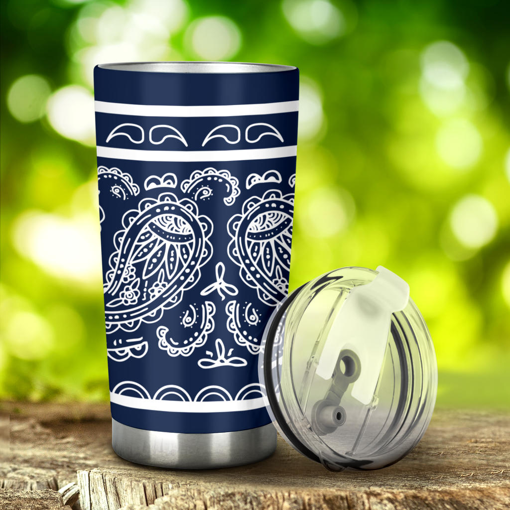 navy blue bandana car cups