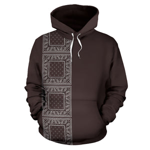 brown bandana pullover hoodie front view