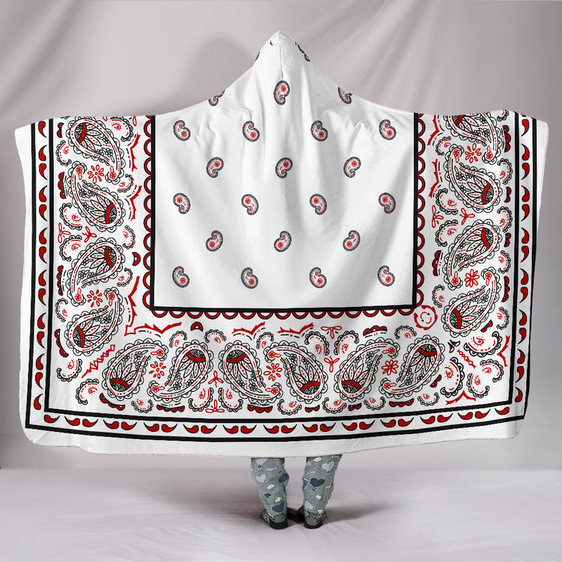 White Bandana Hooded Blanket