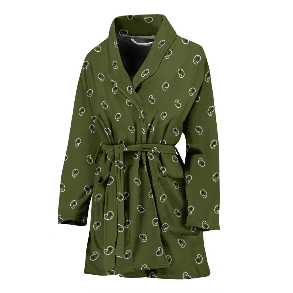 women's army green bathrobe