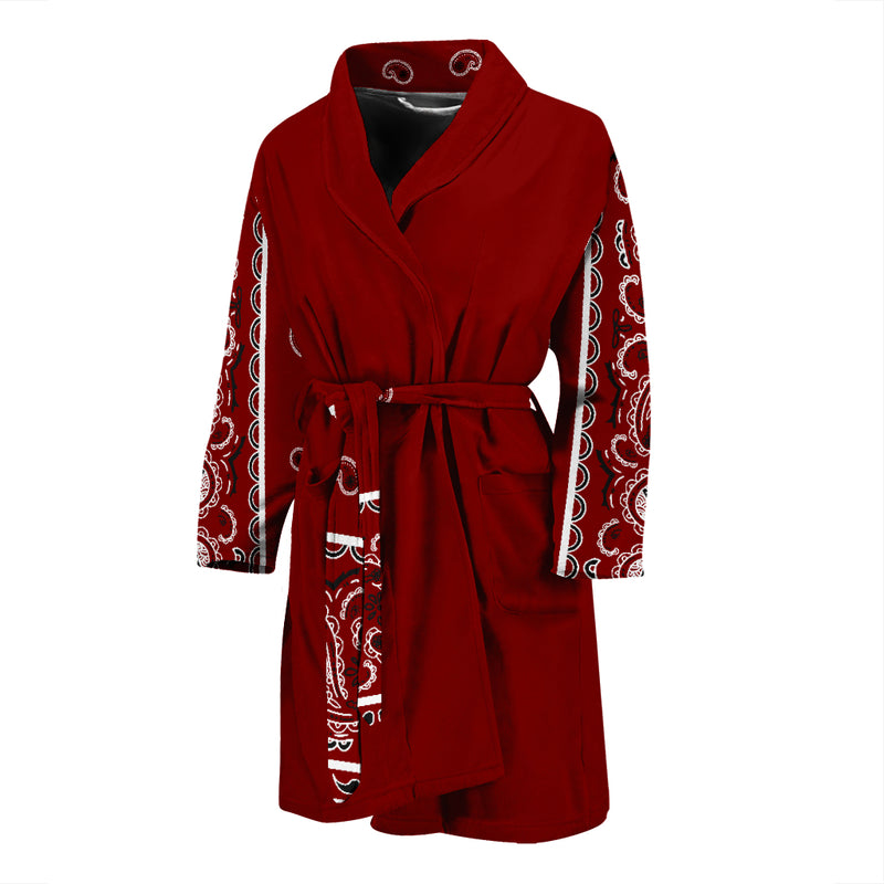 maroon red bandana robe for men