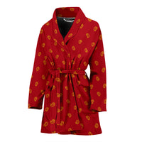 red and gold women's bathrobe