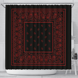 black and red bandana shower curtain
