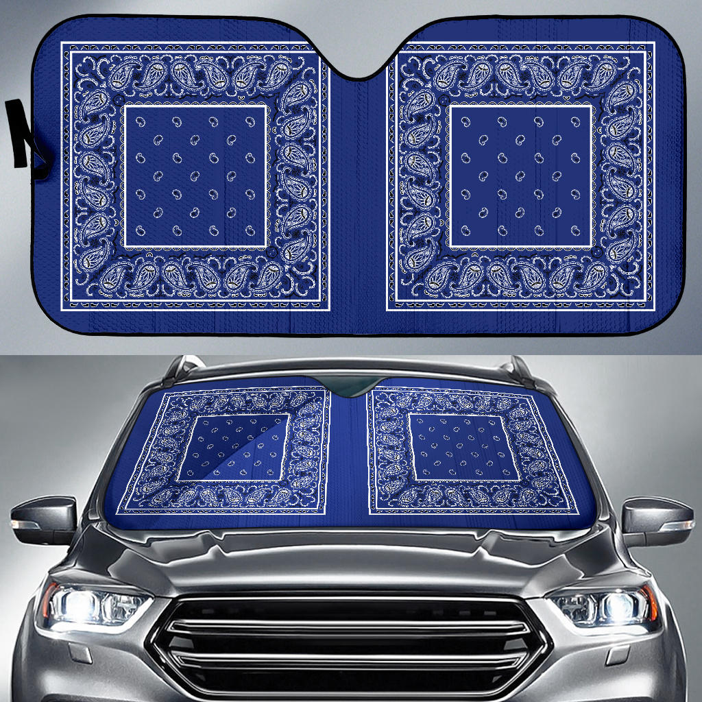 royal blue bandanas muscle car window shades