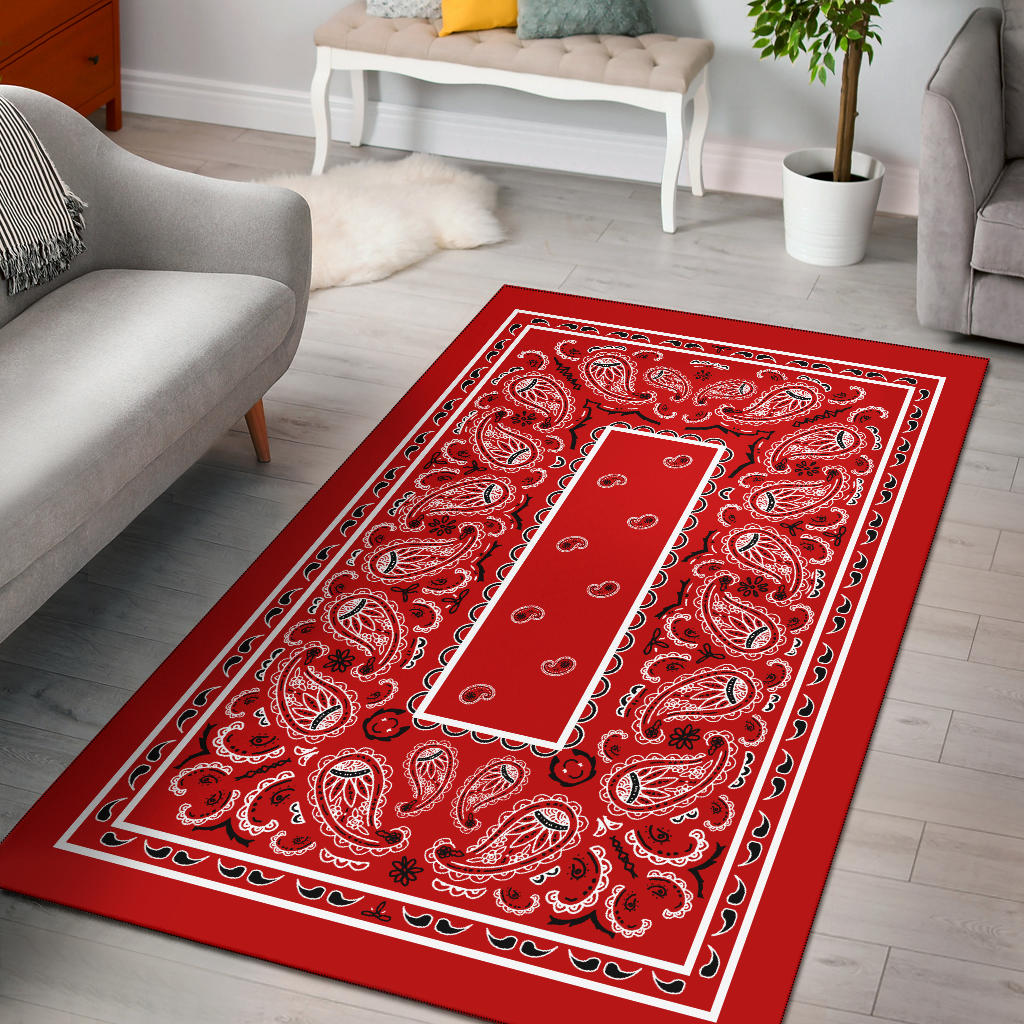 red bandana print throw rug