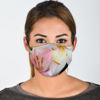 Easter lily flower face mask