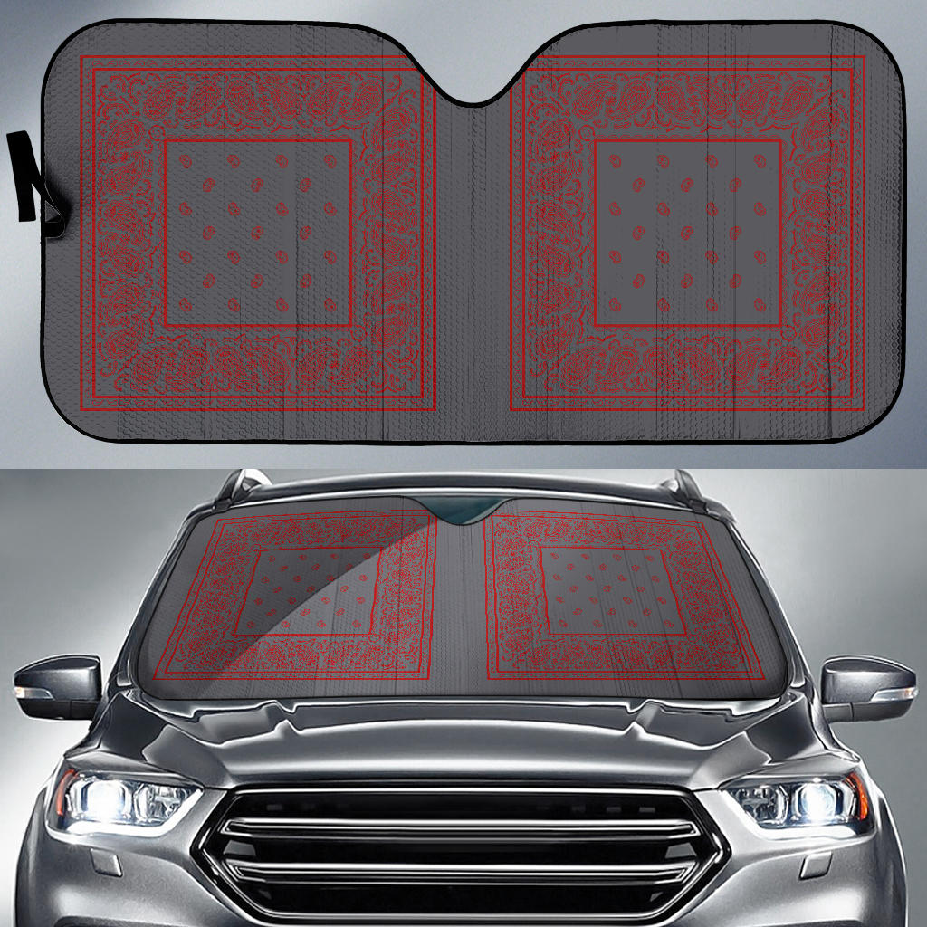 gray and red bandana retro window shade
