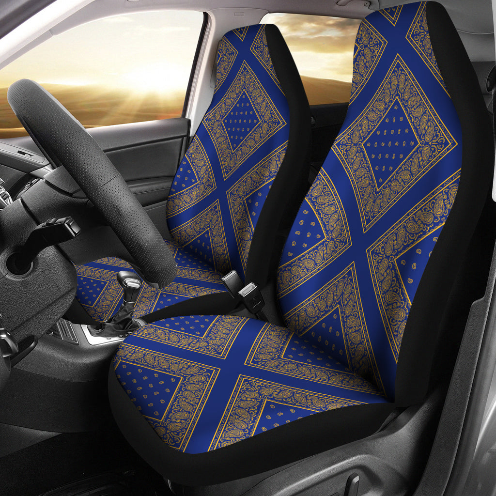 blue and gold bandana cars show seat covers