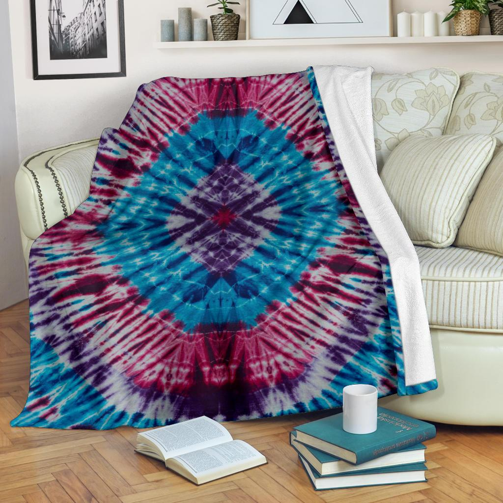 blue Tie Dye Fleece Throw