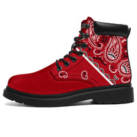 red bandana print hiking boots