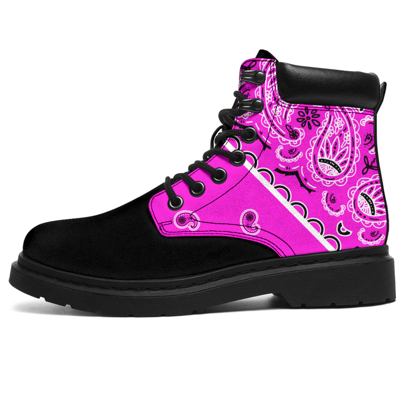 black and pink boots for women