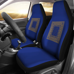 Blue Gold Bandana Car Seat Cover - Minimal