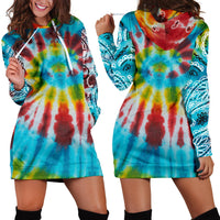 Front and Back Tie Dye Bandana Hoodie Dress