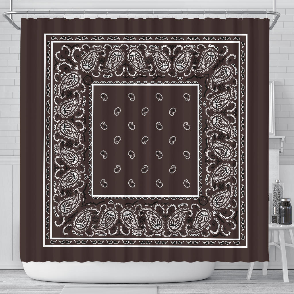Brown Bandana Shower Curtain