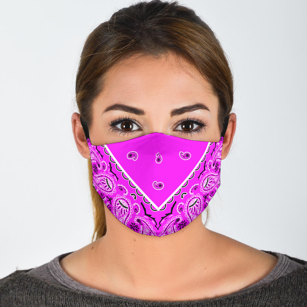 bright pink bandana face mask