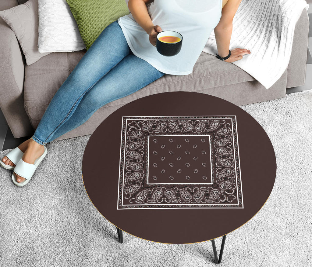 Brown Bandana Round Birch Wood Coffee Tables