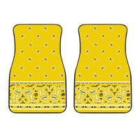 Dual Sunshine Yellow Bandana Car Mats - Fancy