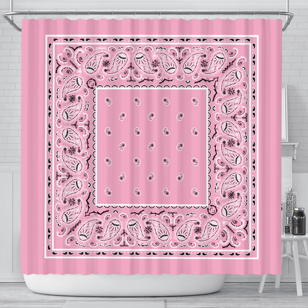 Light Pink Bandana Shower Curtain
