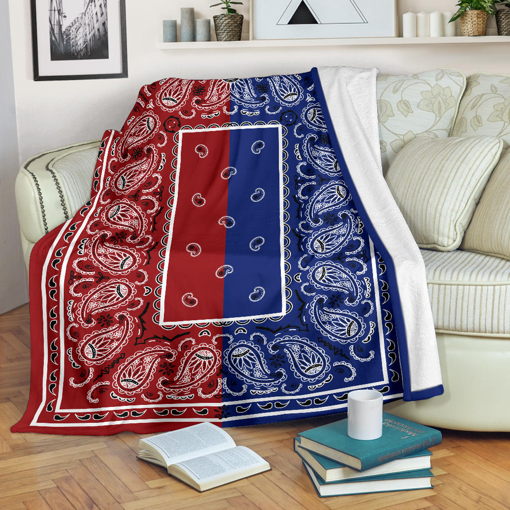 red and blue bandana throw blanket
