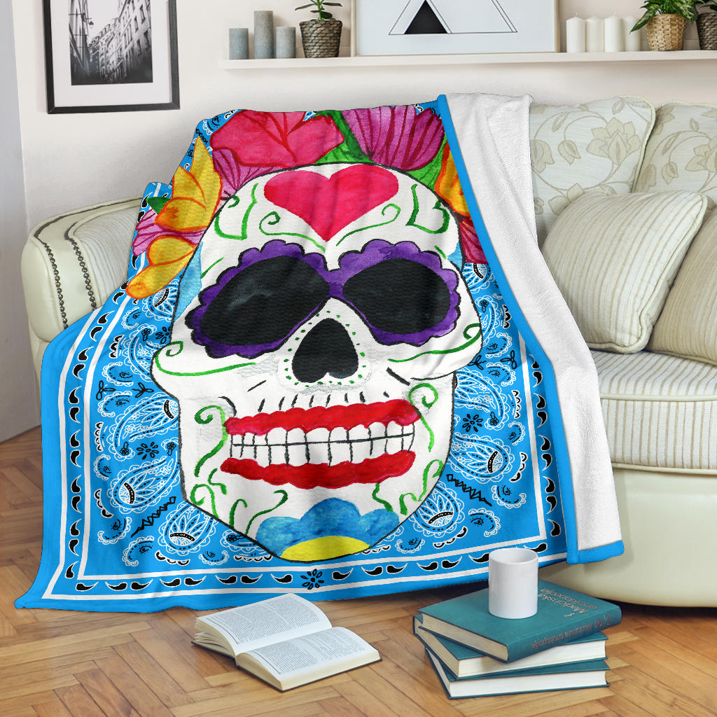 blue sugar skull fleece blanket