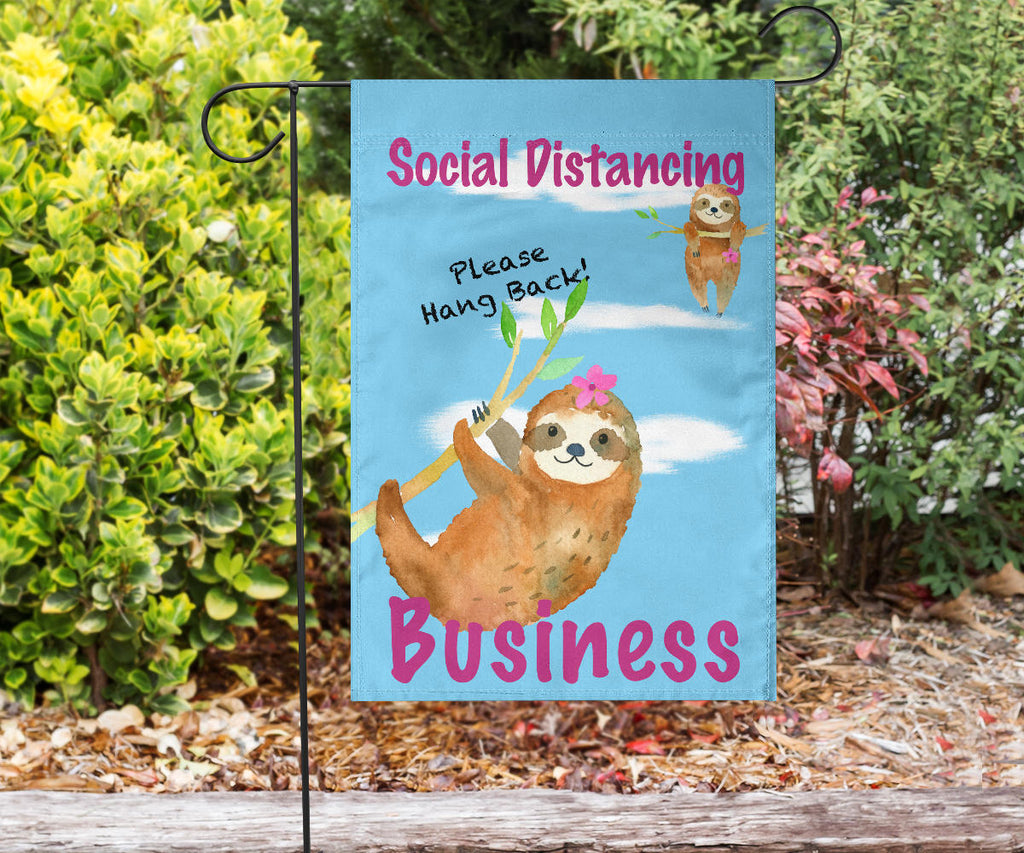 outdoor flag sign for social distancing