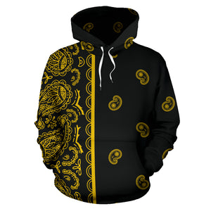 plack gold bandana pullover hoodie front view