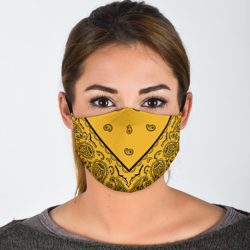 gold and black bandana face cover
