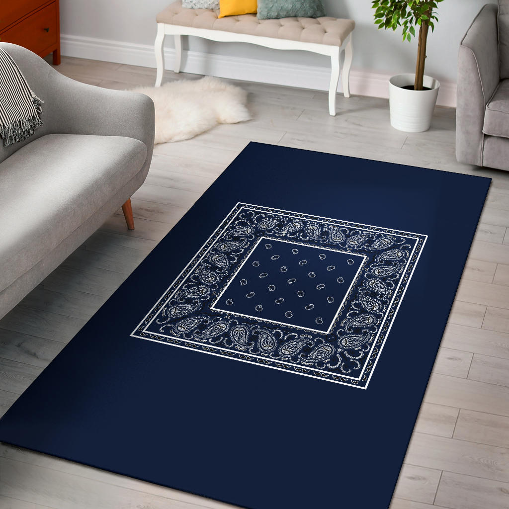 dark blue throw rug