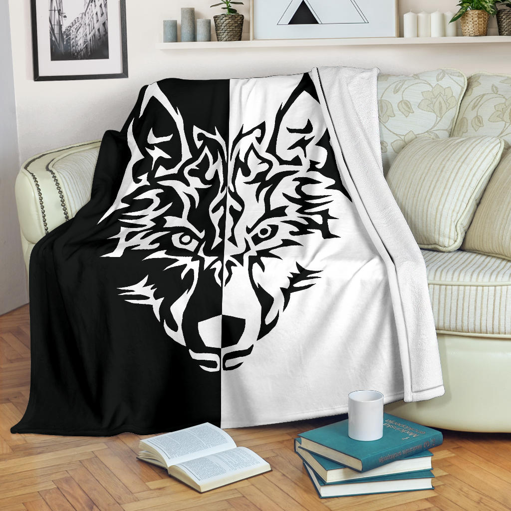 White Wolf Tribal Fleece Throw Blanket