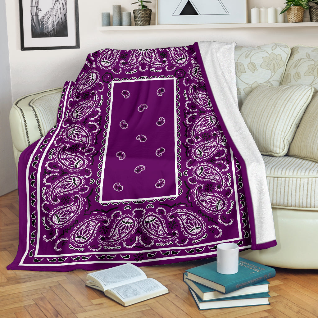 Plum Bandana Throw Blanket