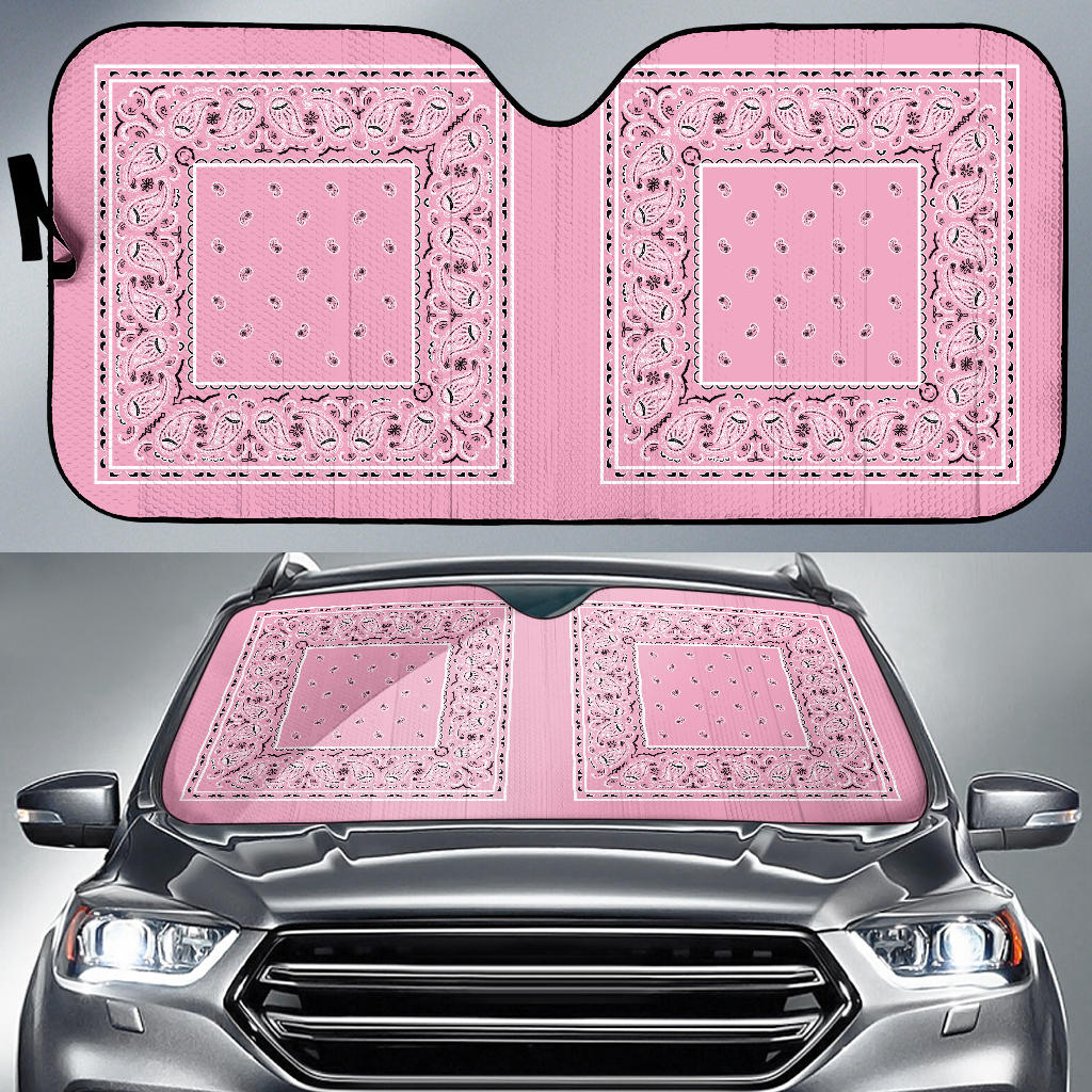 pink bandanas auto window shade