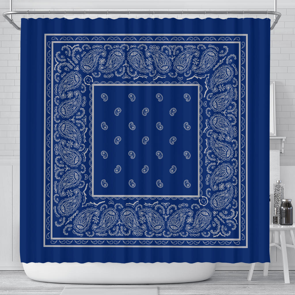 Blue and Gray Bandana Shower Curtain
