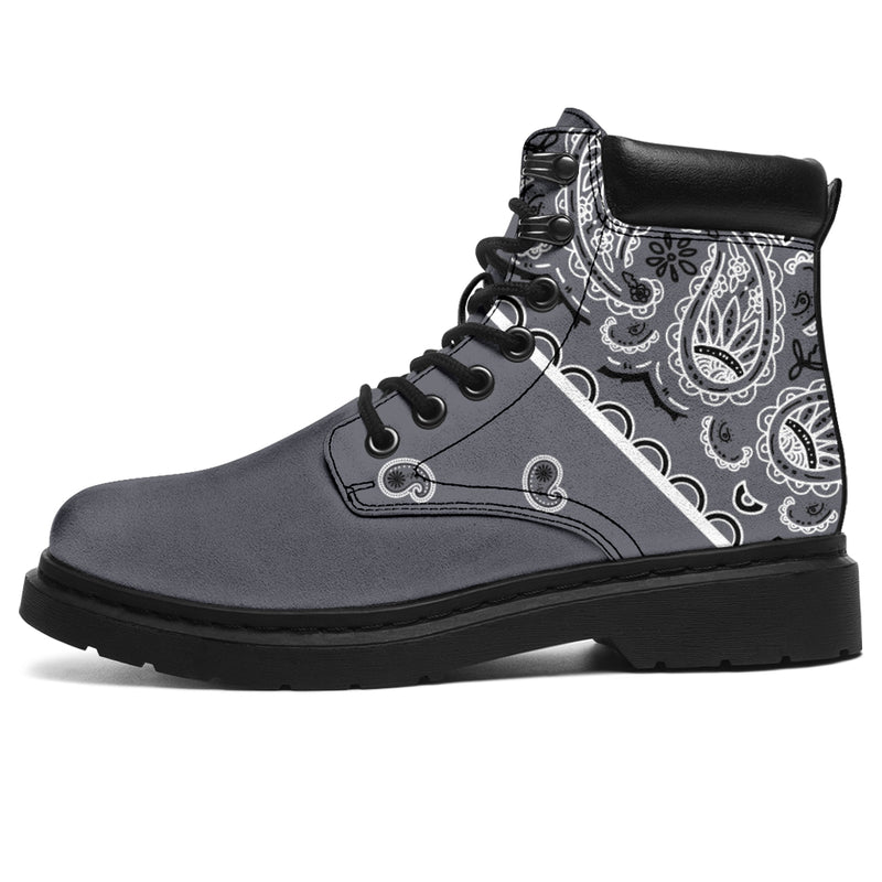 vegan boots with bandana print