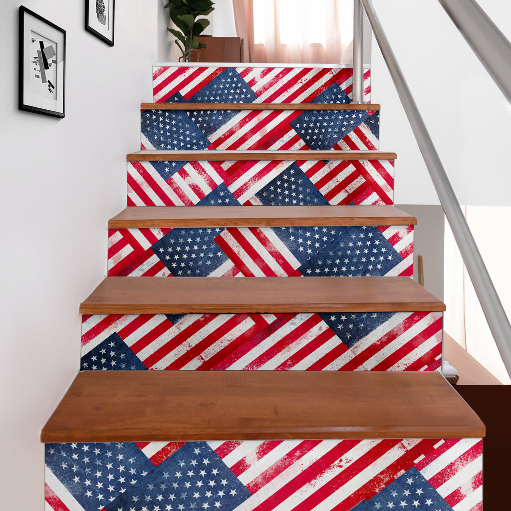American Flag Bandana Stair Stickers 6 Steps