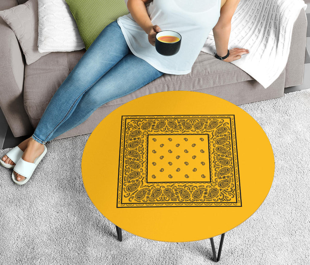 Gold and Black Bandana Round Coffee Table