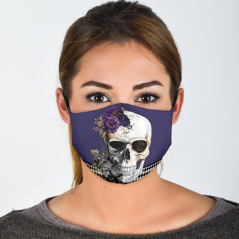 skull in purple flowers face mask