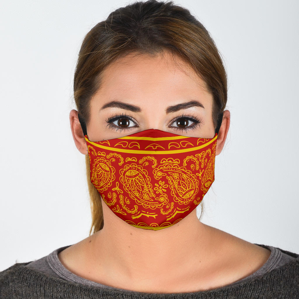 Edge Red and Gold Bandana Face Mask