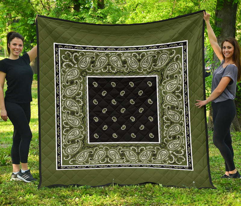 Army Green and Black Bandana Quilt