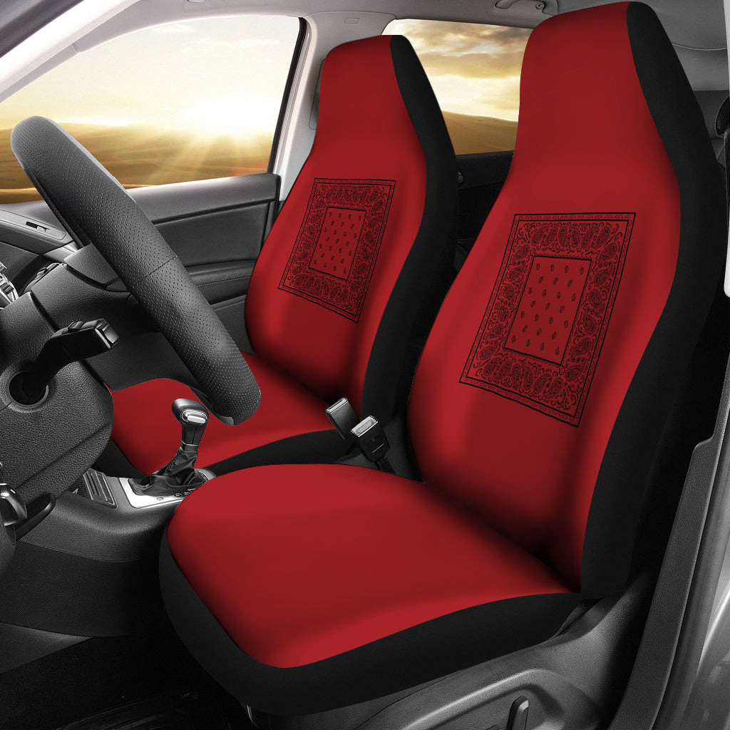 Red with black car seat covers