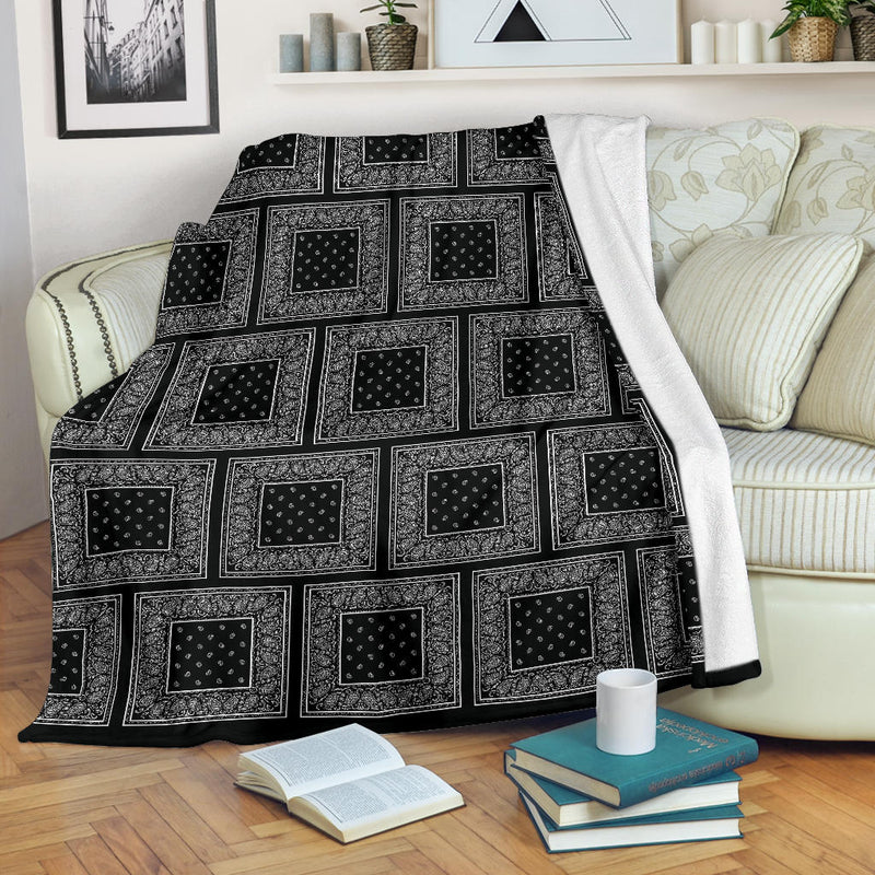 Black Bandana Patch Throw Blankets
