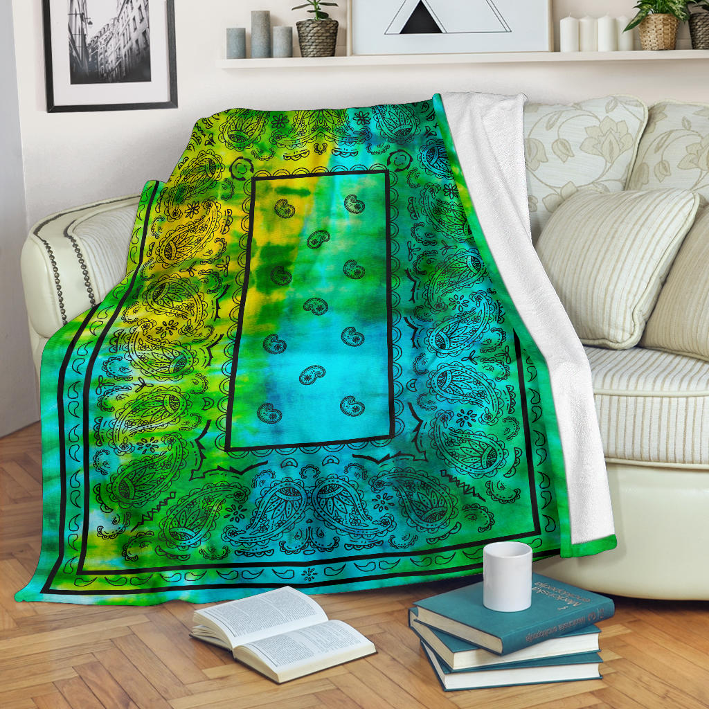 Blue Green Tie Dye Bandana Fleece Throw
