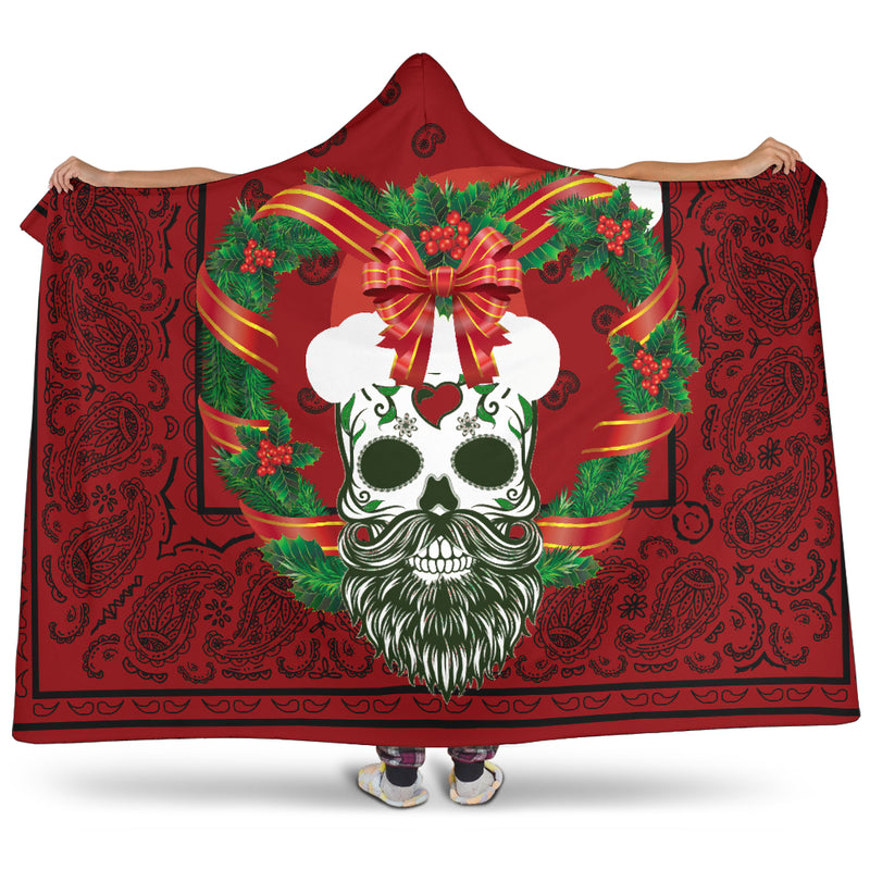 Ultimate Sugar Skull Santa Holiday Hooded Blanket