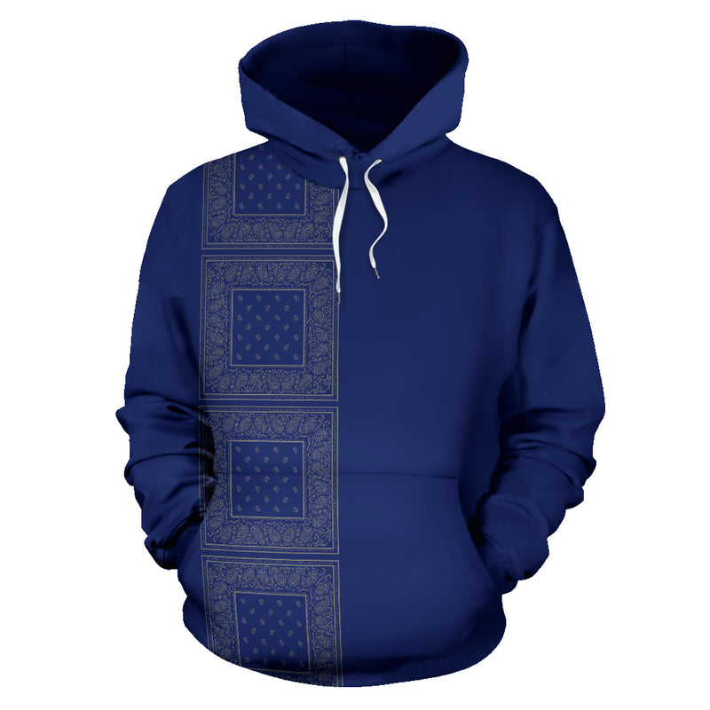 blue gray bandana hoodie front view