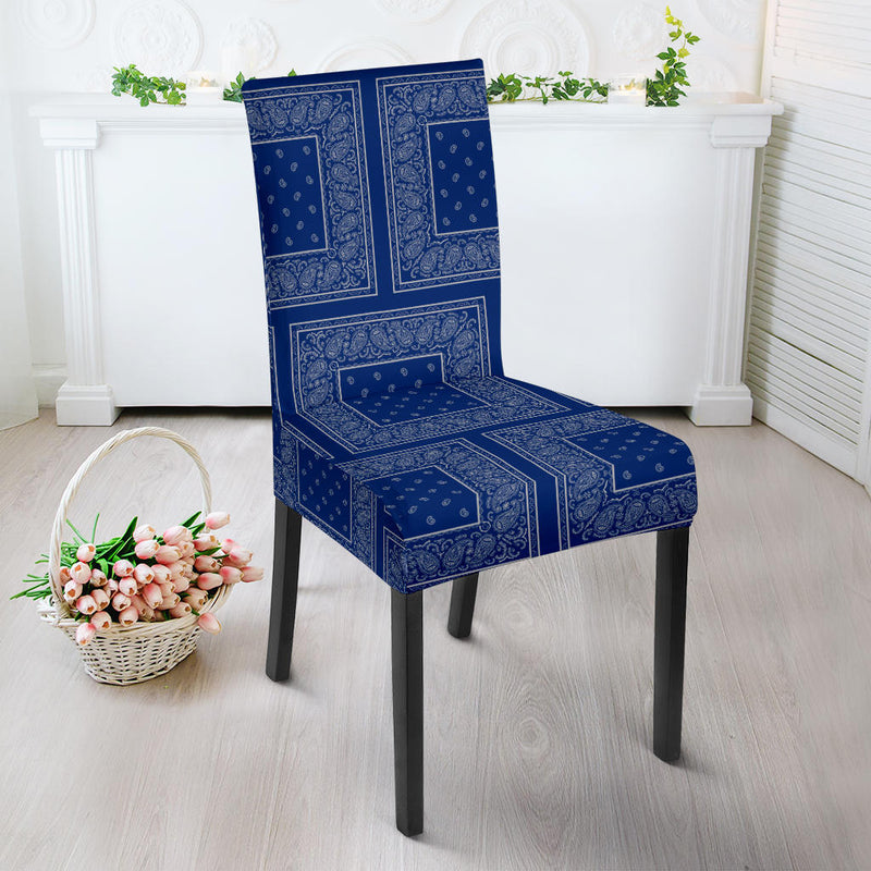 Blue and Gray Bandana Dining Chair Slipcovers