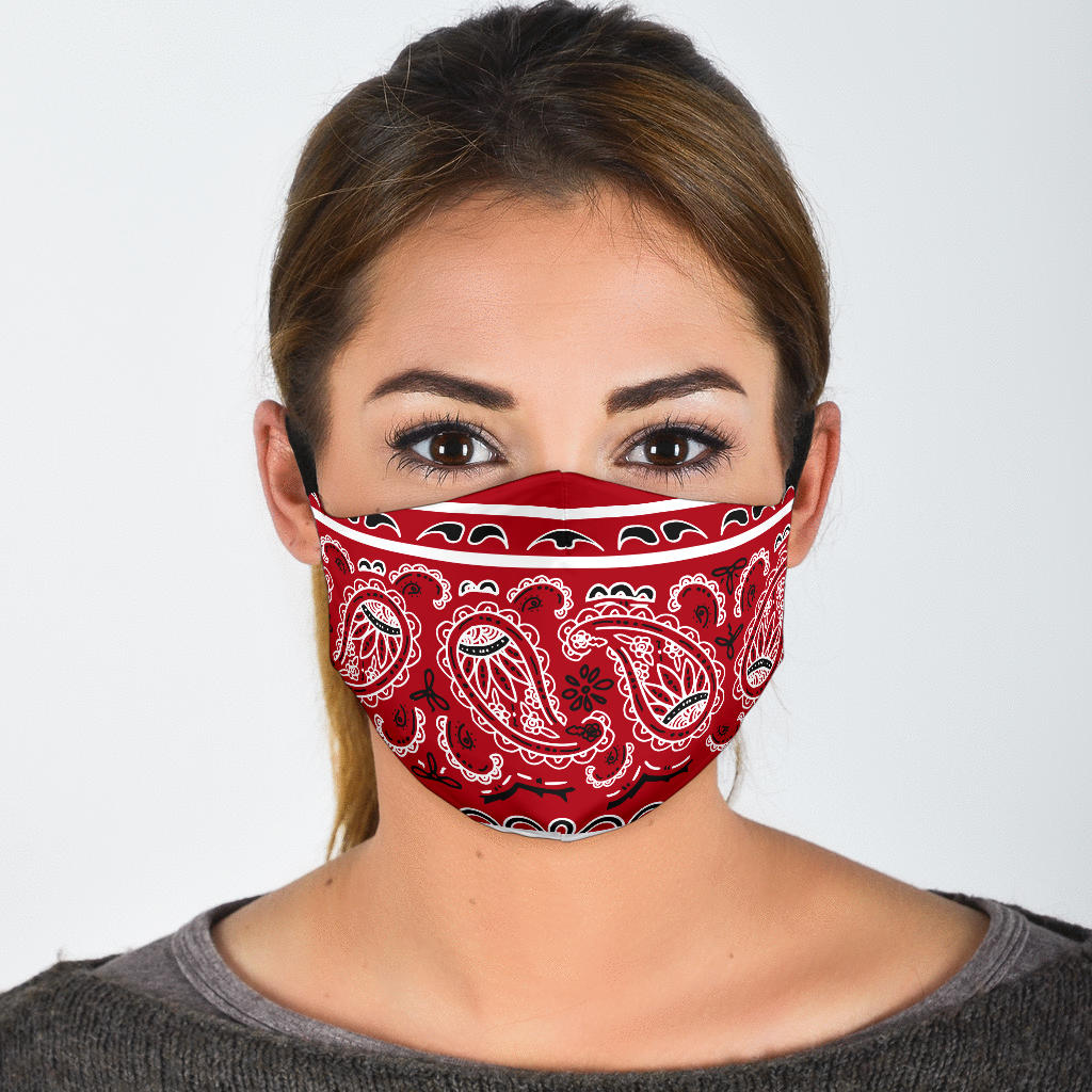 red bandana print face masks