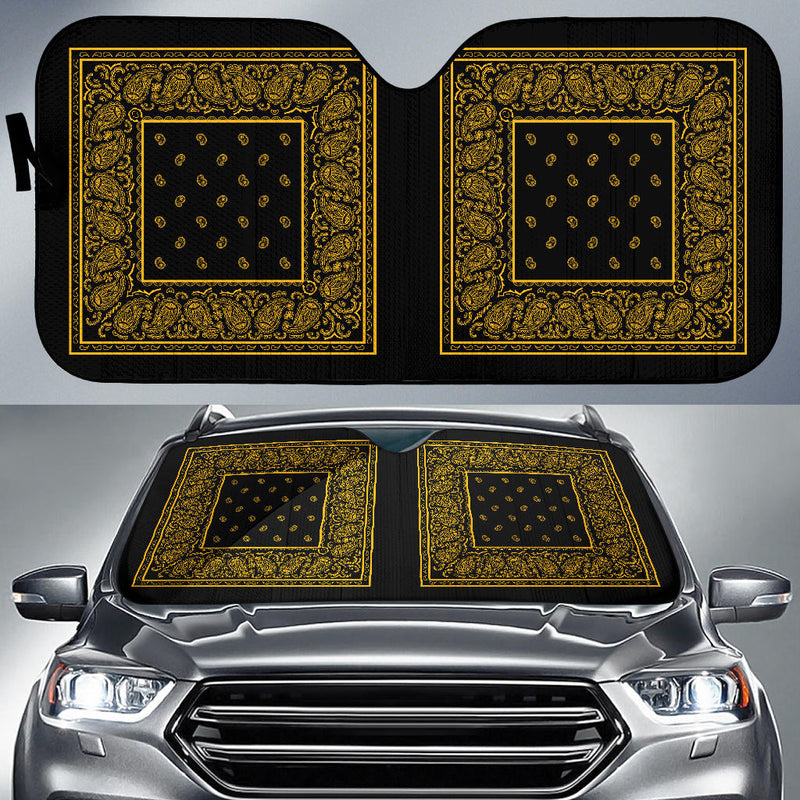 black and gold bandana muscle car window shade